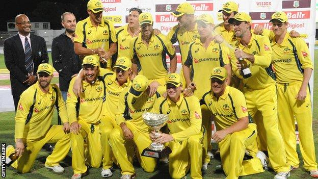 Australia with the tri-series trophy