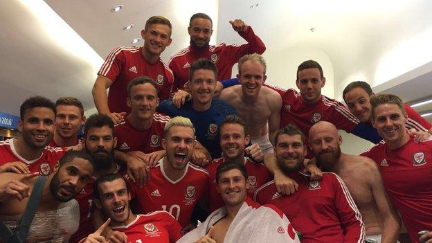 Wales celebrate their win over Northern Ireland