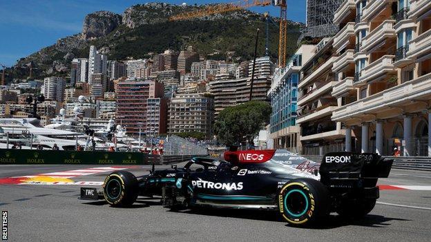 Lewis Hamilton on track in Monaco