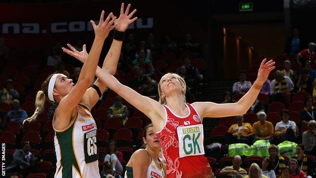 Lenize Potgieter of South Africa and Rosanna Pretorius of Wales compete for the ball