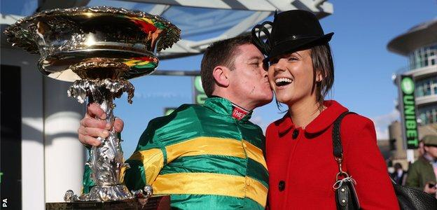 Barry Geraghty celebrates victory with his wife, Paula