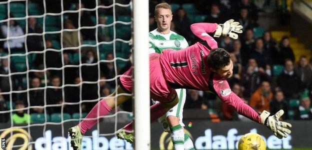 Celtic's Leigh Griffiths fires past Partick Thistle's Tomas Cerny