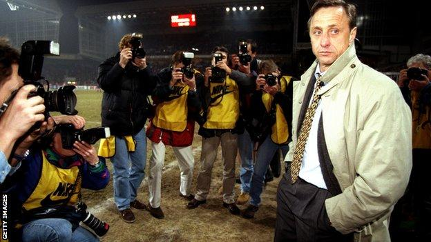 Johan Cruyff photographed during his time as boss of Barcelona