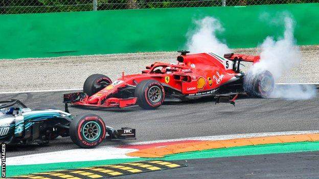 Sebastian Vettel spins on the first lap at Monza