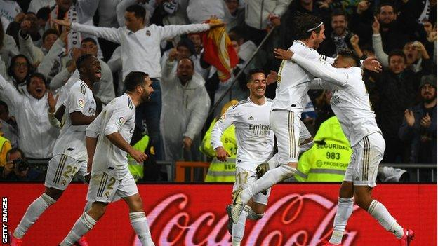 Mariano's goal sparked wild celebrations at the Bernabeu