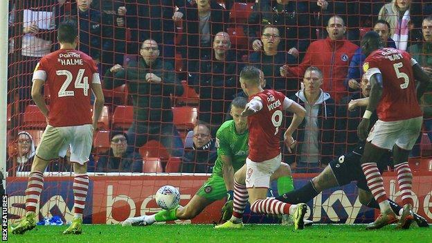 Cauley Woodrow scores against Bristol City