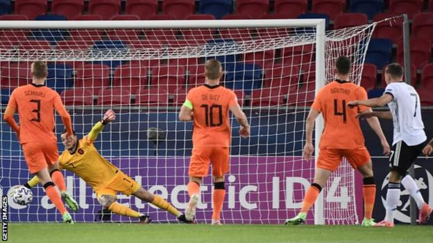 Florian Wirtz scores from the edge of the box for Germany against the Netherlands at the Euopean Under-21 Championship