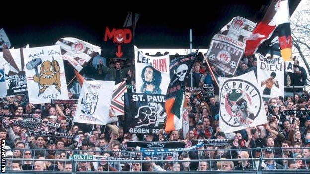 St Pauli fans display banners during a 2001 Bundesliga match
