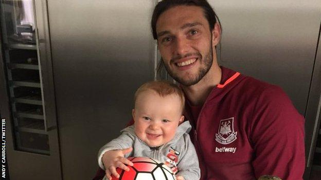 Andy Carroll and son Arlo