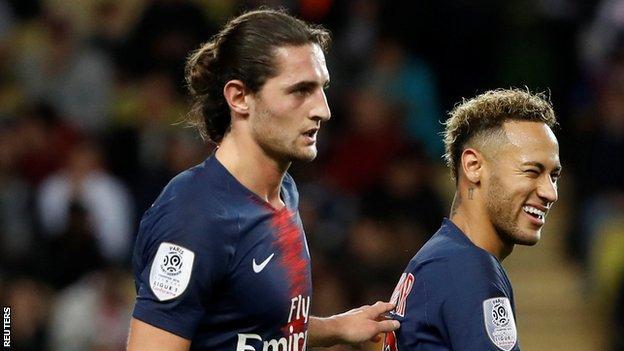 Adrien Rabiot (left) with Neymar