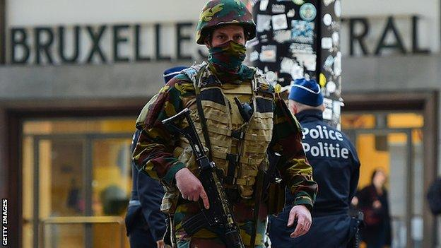 Security has been stepped up in Brussels following Tuesday's attacks