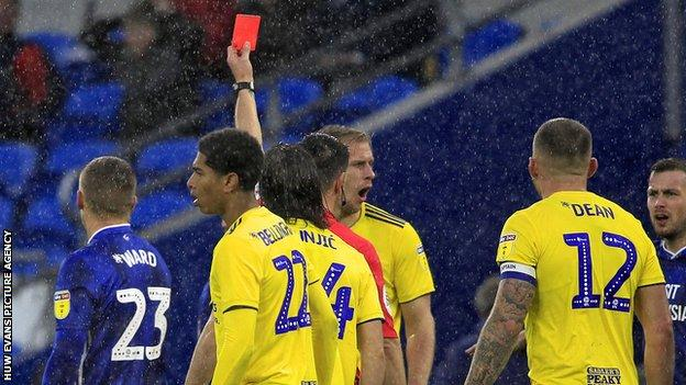 Danny Ward is shown a red card