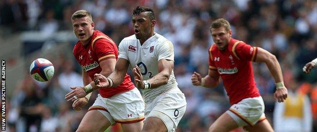 England's Luther Burrell in action against Wales