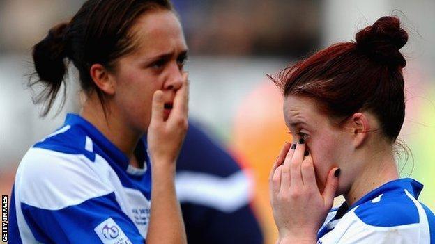 Birmingham City Ladies pair Jo Potter (left) and Jade Moore