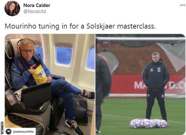 Split screen: Left: Mourinho watches film on plane, right: Ole Gunnar Solksjaer in training