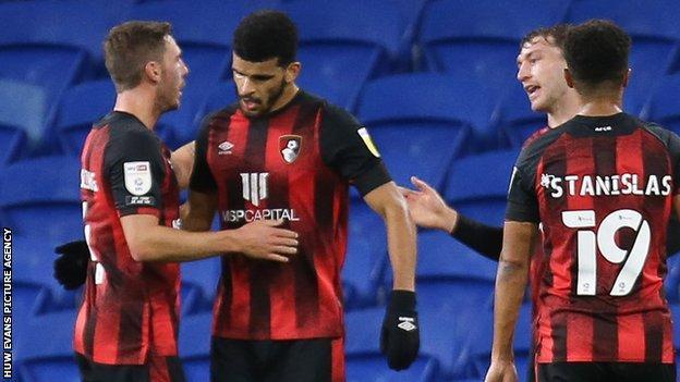 Bournemouth celebrate Dominic Solanke's goal