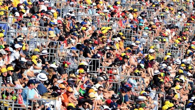 Fans in the stands in Melbourne