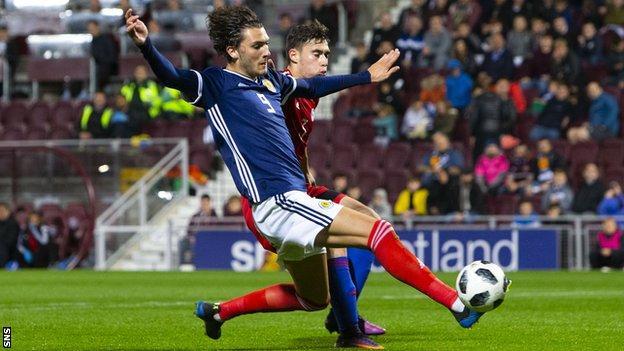 Fraser Hornby scores his third for Scotland against Andorra