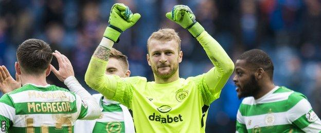 Scott Bain celebrates Celtic's win