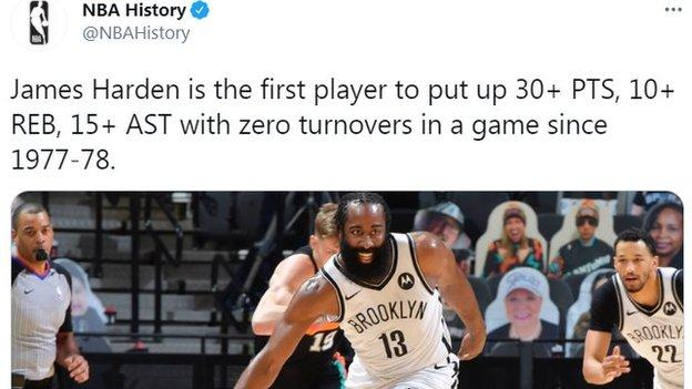 James Harden tweet from NBA History says he is the first player to score 30 points, 10 rebounds and 15 assists with zero turnovers since 1977-78