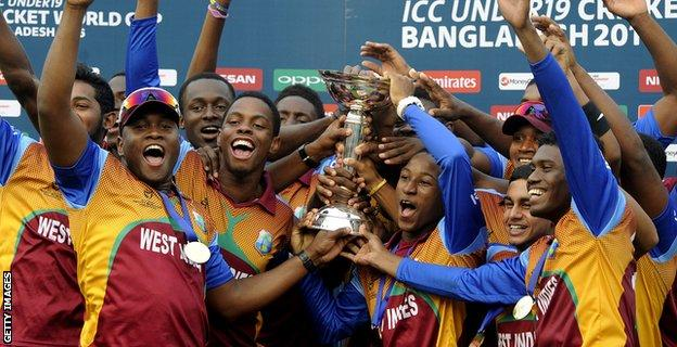 West Indies celebrate winning the Under-19 World Cup last year