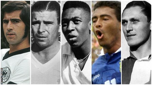 Gerd Muller, Ferenc Puskas, Pepe, Romario, Josef Bican