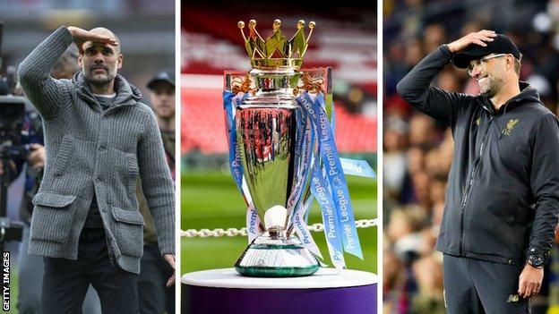 Pep Guardiola, the Premier League trophy and Jurgen Klopp