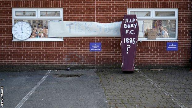 A coffin outside Bury's stadium