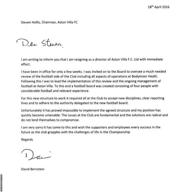 David Bernstein's resignation letter