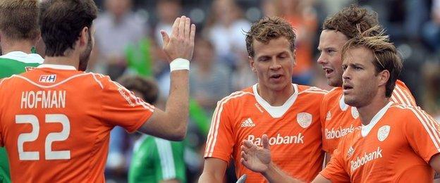 Jeroen Hertzberger (right) celebrates scoring against Ireland