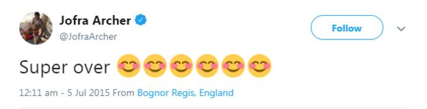 """Jofra Archer tweet from July 2015 saying """"super over"""" followed by six smiling emojis"""