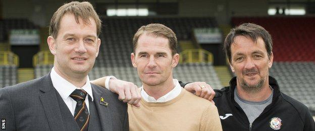 Partick Thistle managing director Ian Maxwell, manager Alan Archibald and Thistle Weir Youth Academy director Gerry Britton