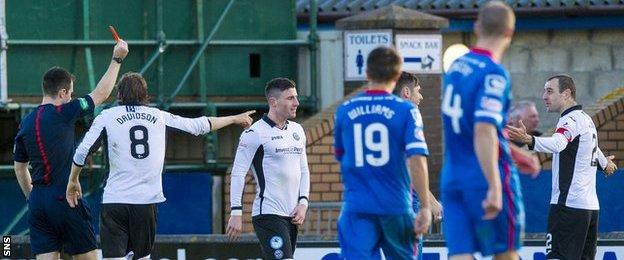 St Johnstone captain Dave Mackay is sent off against Inverness