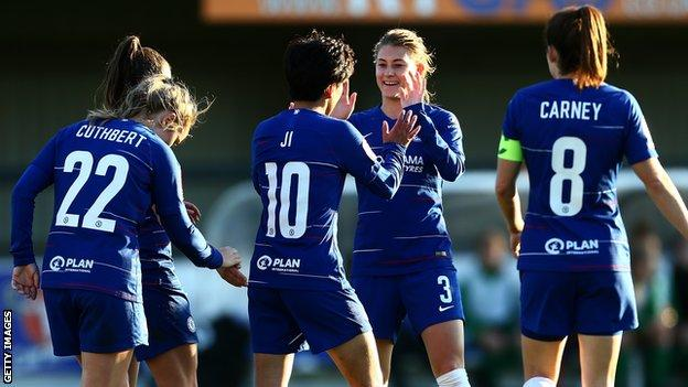 Chelsea Women celebrate a goal against Yeovil Town