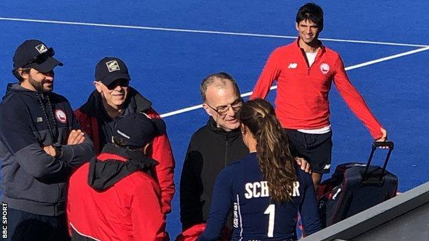 Leeds United manager Marcelo Bielsa talks to Chile's women's hockey side before their Olympic qualifying play-off against Great Britain