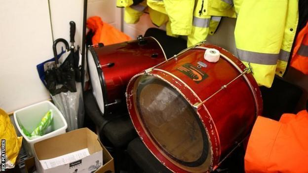 The Morecambe fans bands drum locked away in the stewards room as fans continue to be locked out of stadiums