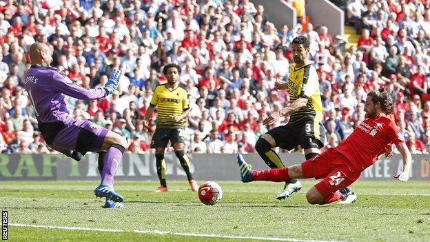 Joe Allen scores for Liverpool against Watford