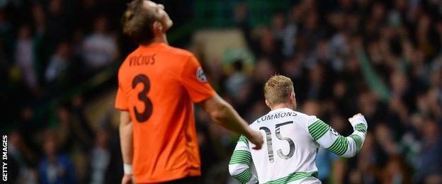 Kris Commons celebrates scoring for Celtic against Shakhter Karagandy