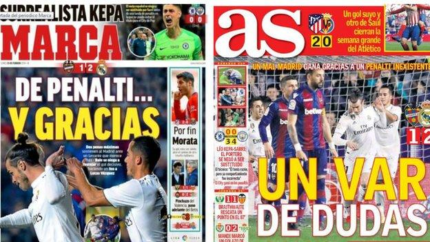 Images of Spanish newspapers Marca and AS