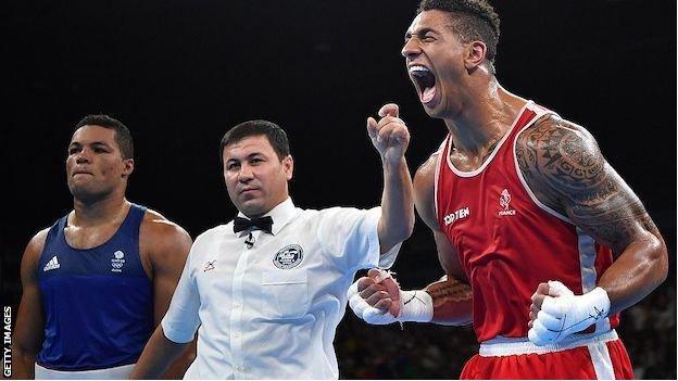 France's Tony Yoka celebrates after winning against Great Britain's Joe Joyce in the Rio Olympic final