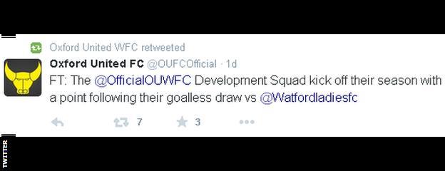Oxford United Tweet