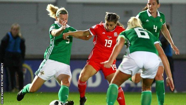 Megan Wynne on the ball v Northern Ireland