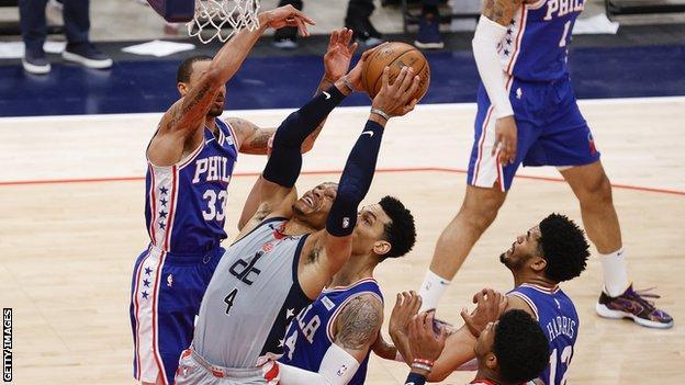 Russell Westbrook scoring a rebound