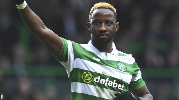 Moussa Dembele salutes another goal for Celtic