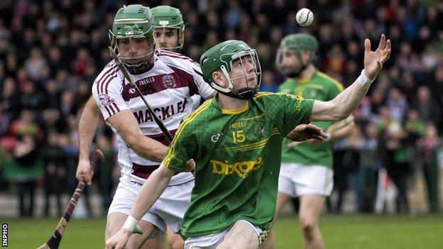 Slaughtneil's Cormac McKenna battles with Dunloy's Conal Cunning in the Ulster Club semi-final two years ago