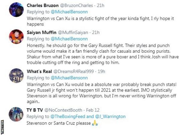 A screengrab of a selection of tweets speculating on Josh Warrington's next opponent - some saying Xu Can, with Gary Russell, Shakur Stevenson and Leo Santa Cruz also mentioned