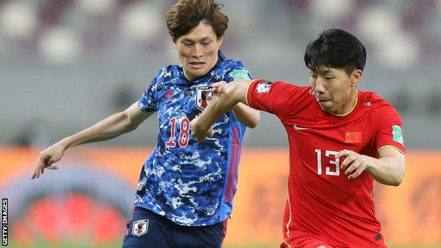 Kyogo Furuhashi was taken off early in the second half against China