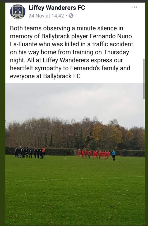 Fellow Senior League side Liffey Wanderers observed a minute's silence for La Fuente