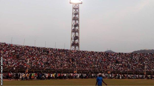 Fans at East End Lions against FC Kallon in the Sierra Leone league
