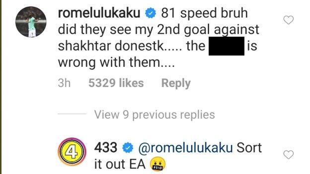 Lukaku complains about his Fifa 21 rating - says 'did they see my 2nd goal against Shakhtar Donetsk?'